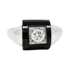 Felger Inc. Onyx Diamond 14 Karat White Gold Art Deco Band Ring
