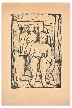 Model in the Studio - Original Lithograph by Felice Casorati - 1946