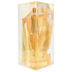 Feliciano Béjar Embedded Gold Leaf Fractal Lucite Sculpture Vintage