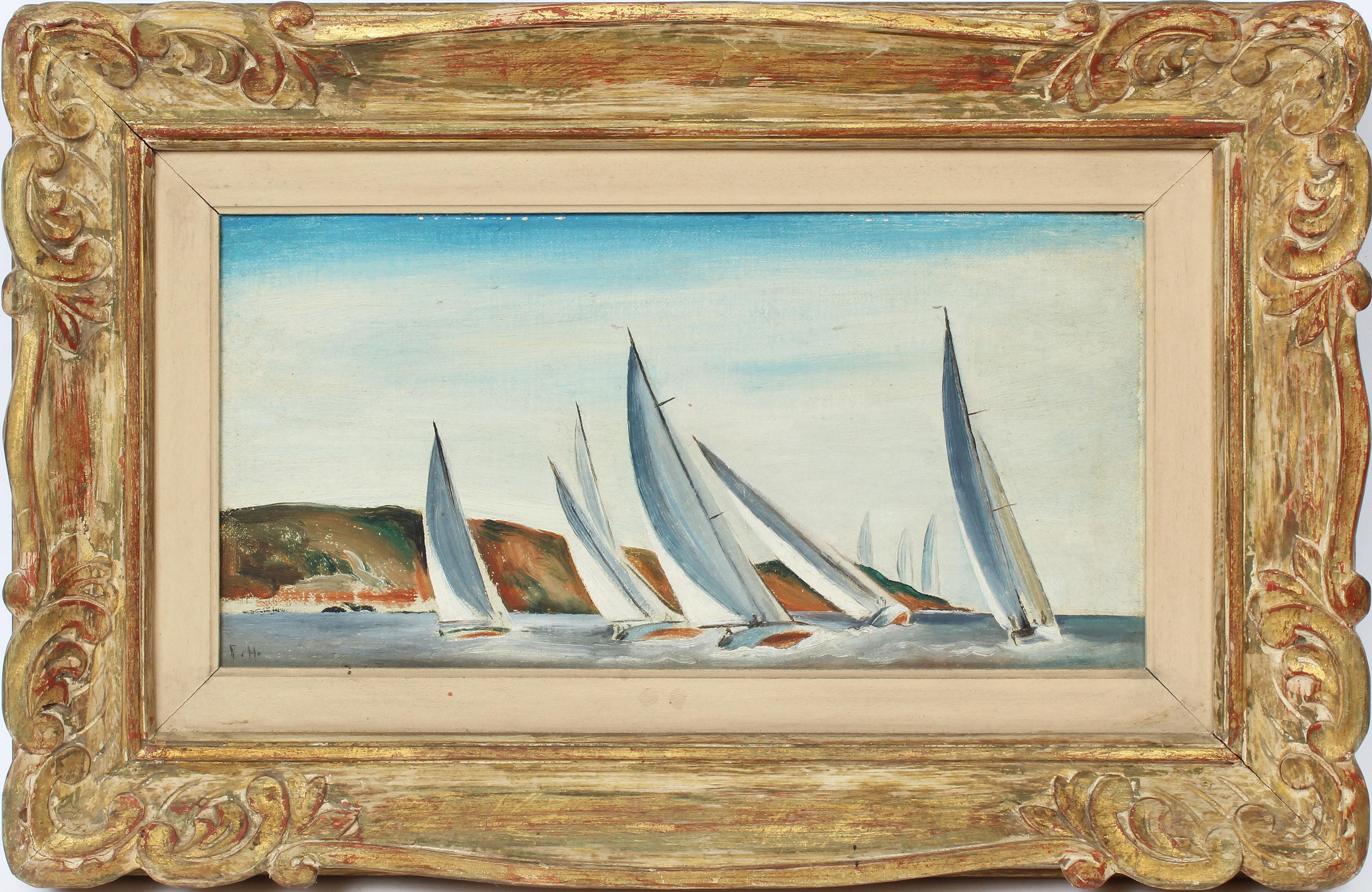 American Female Impressionist St. David's Bermuda Sail Boat Race Oil Painting