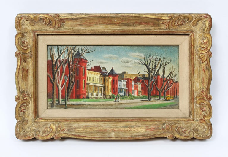 Antique American Female Impressionist New England Cityscape Signed Oil Painting - Brown Landscape Painting by Felicie Howell