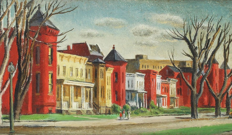 Antique American Female Impressionist New England Cityscape Signed Oil Painting For Sale 1