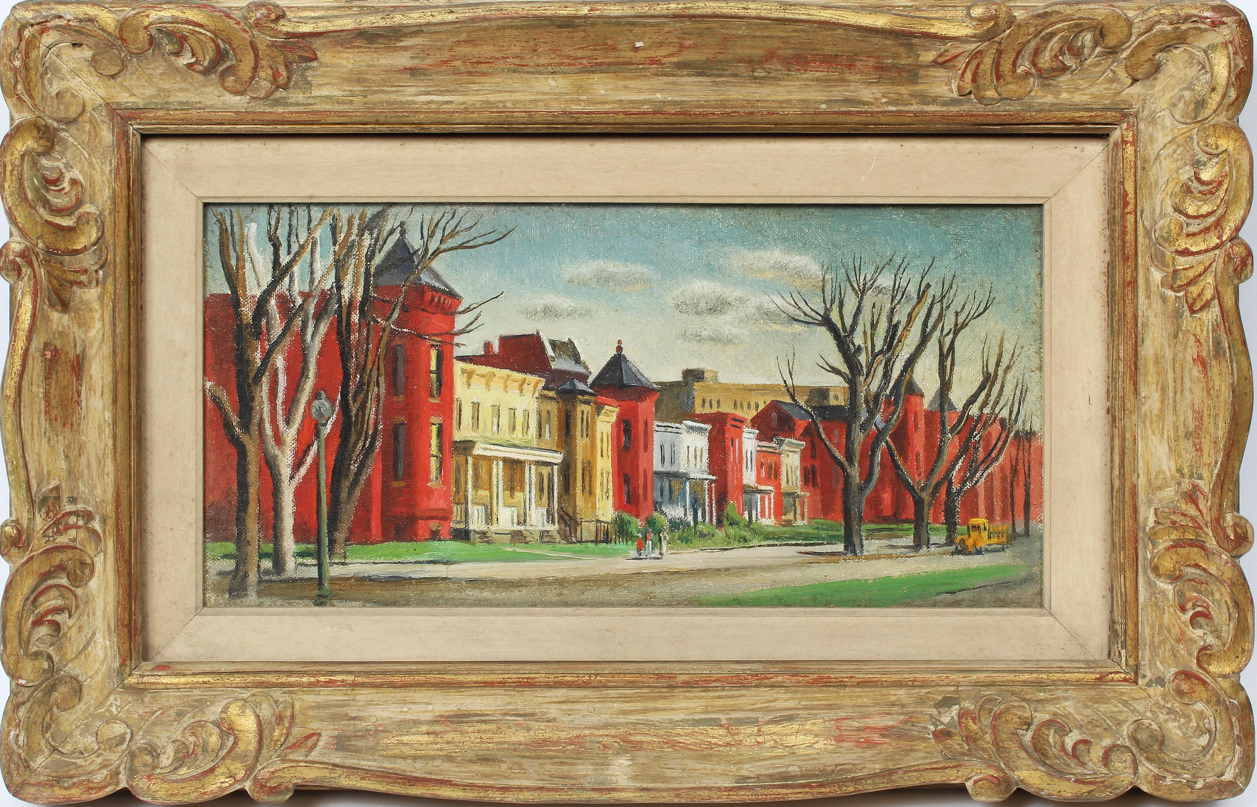 Antique American Female Impressionist New England Cityscape Signed Oil Painting