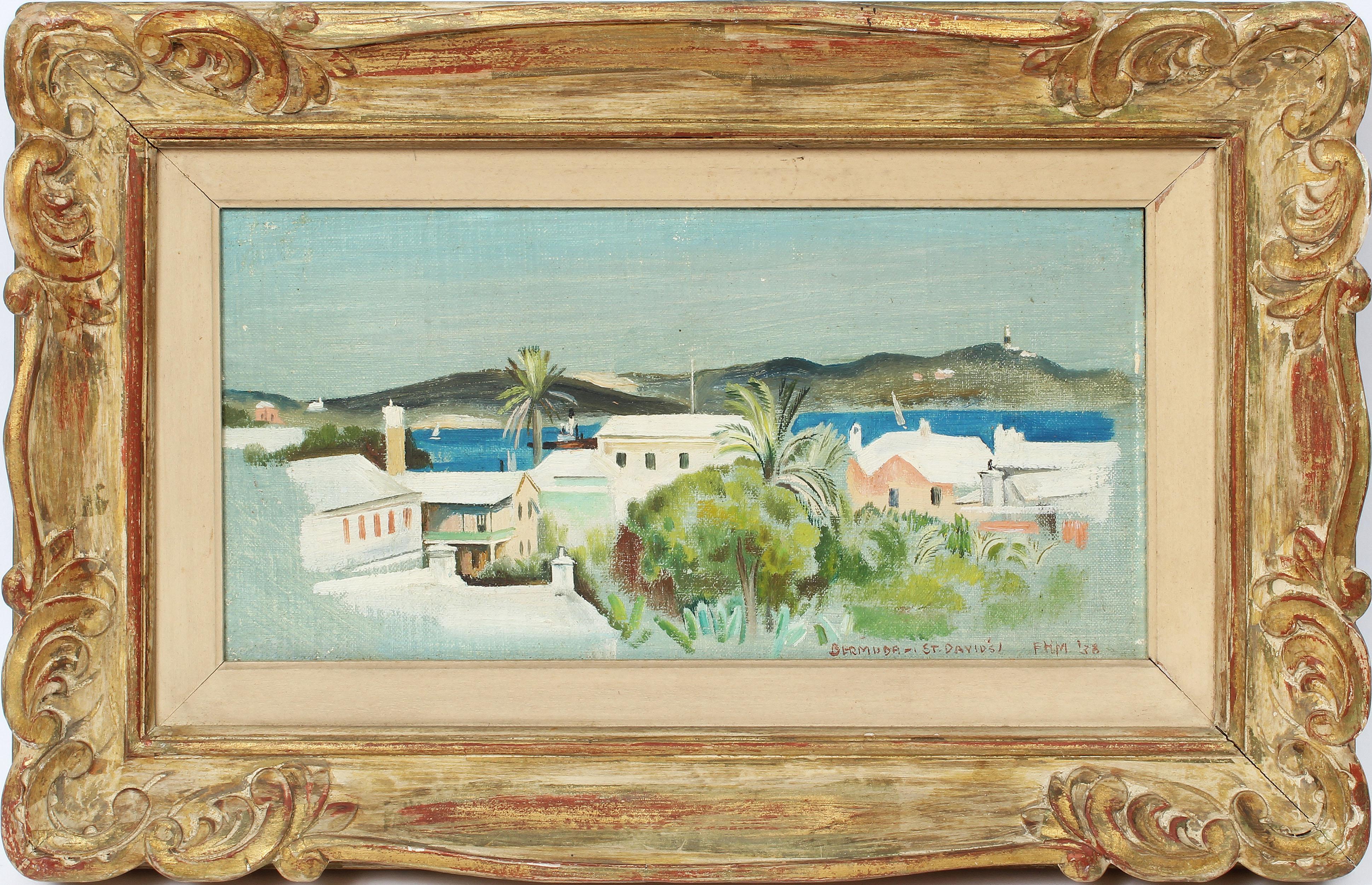 Antique American Female Impressionist St. David's Bermuda Harbor Oil Painting