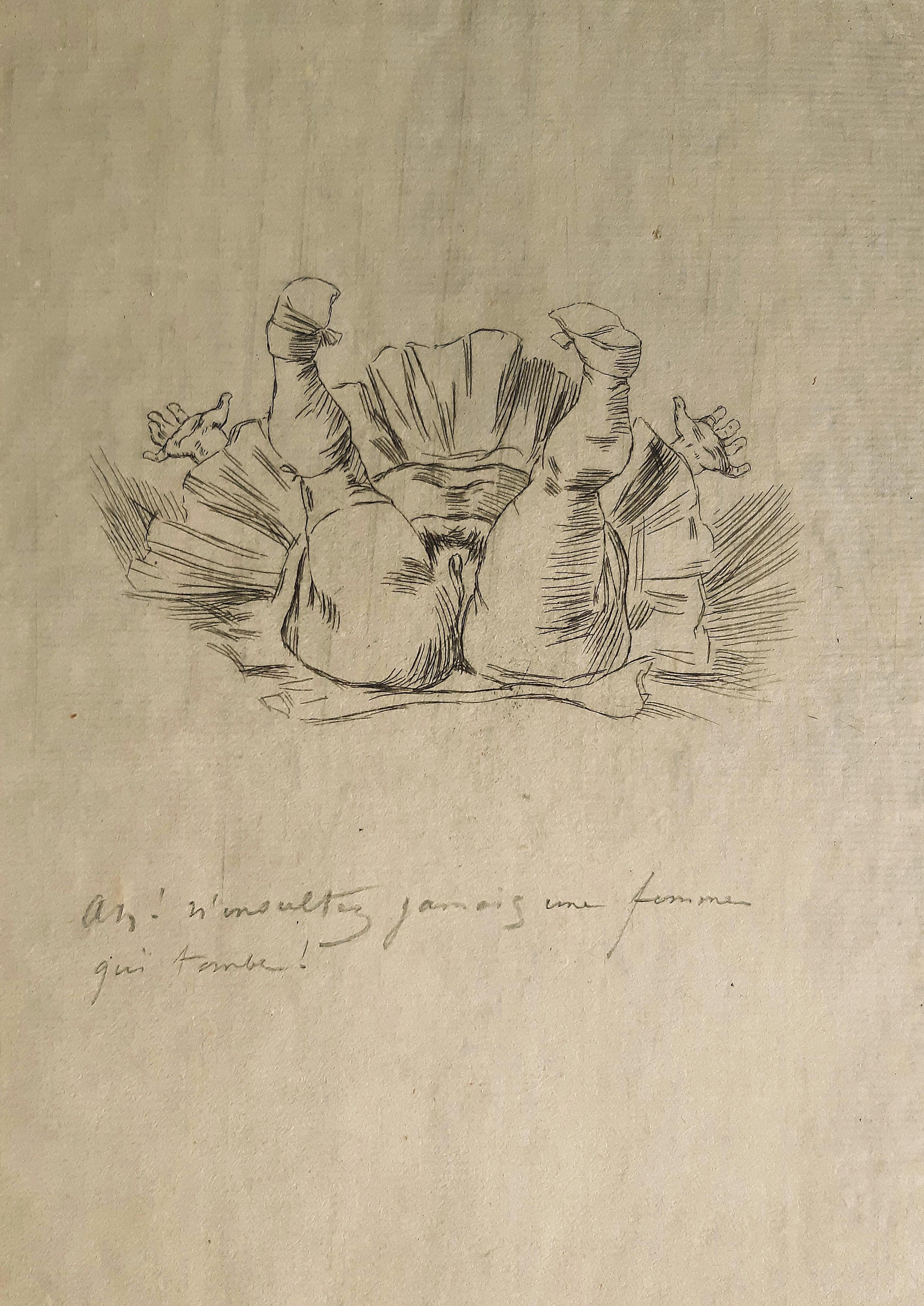 Chute d'un Ange - Original Etching by Félicien Rops - Late 19th Century