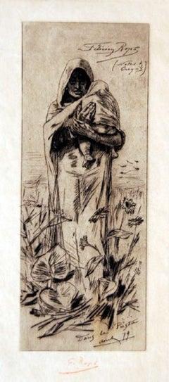 Dans la Posta - Original Etching by Félicien Rops - 1879
