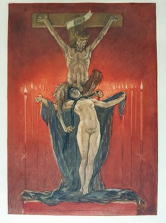 Le Calvaire  - Original Etching and Heliogravure by Félicien Rops - 1882