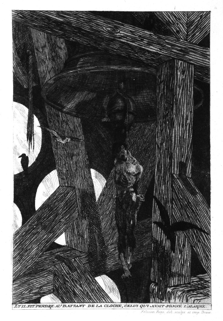 """The Hanged Man is an original etching realized by  Félicien Rops in 1868, – 3rd  state on 4, plate from """"Uylenspiegel"""", title  """"Le pendu, ou la mère grand et le fils Charles"""".   Included a frame.  In very good conditions.  The artwork representing a"""