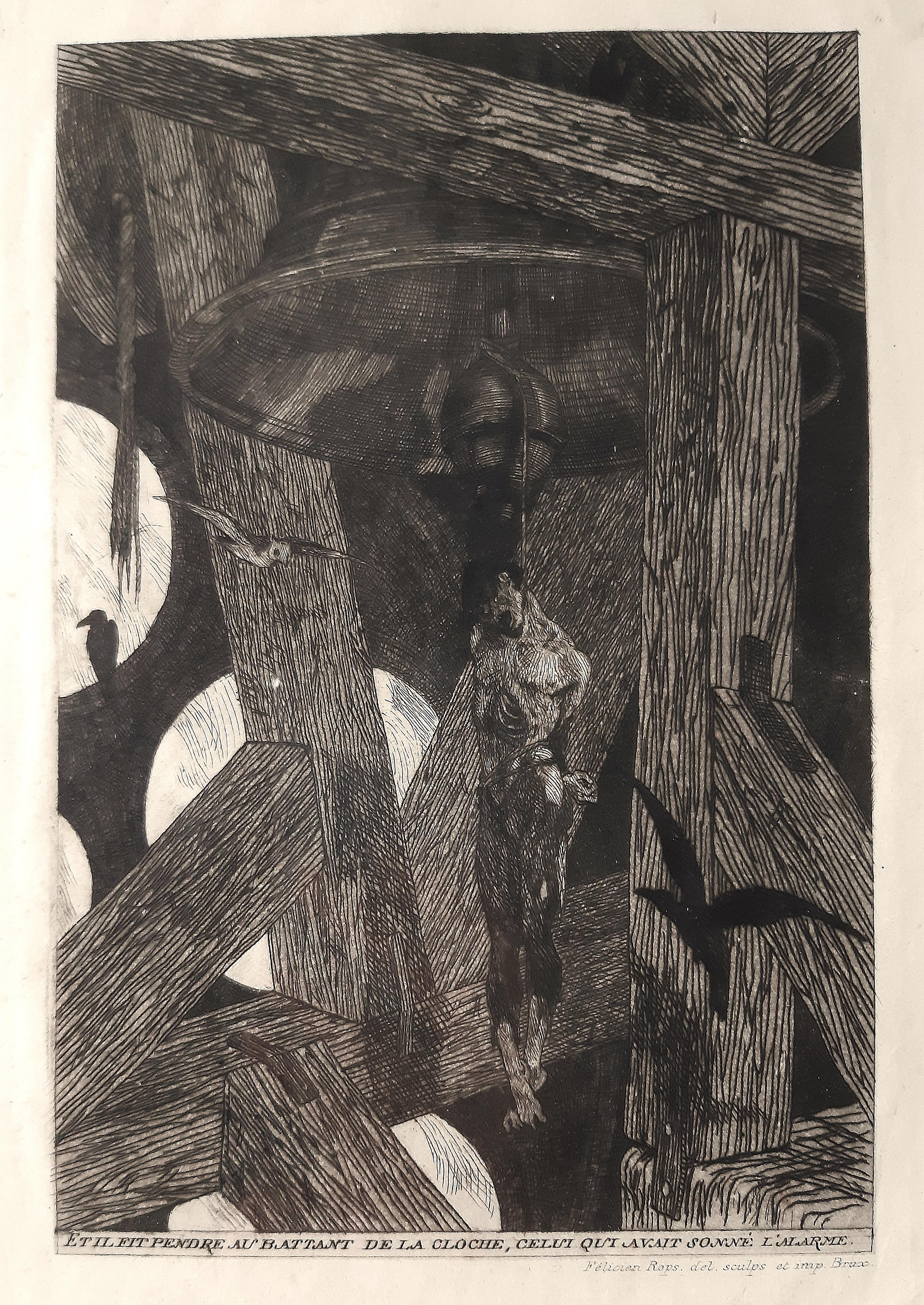 Le Pendu (The Hanged Man) - Original Etching by Félicien Rops - 1868