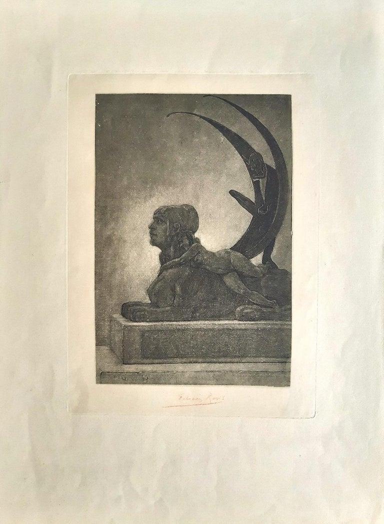 Le Sphinx - Original Heliogravure by Félicien Rops - 1882 For Sale 1