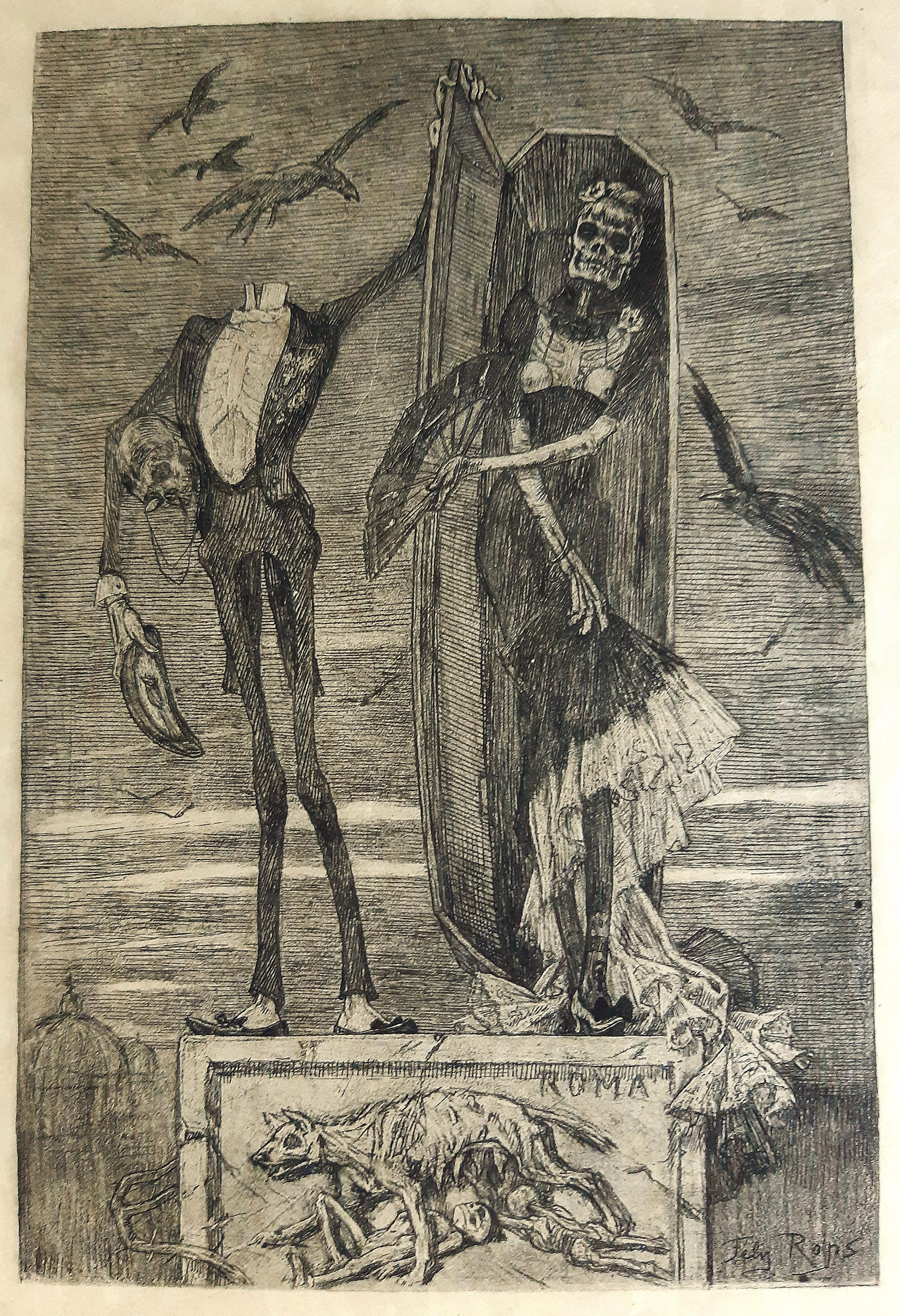 Le Vice Supreme  - Original Etching by Félicien Rops - 1883