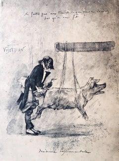 Médecine Expérimentale - Original Etching by Félicien Rops - 1854
