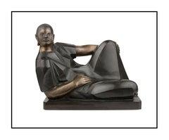 Felipe Castaneda Original Bronze Juana Portrait Sculpture Modern Cubism Artwork