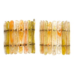 Felipe Delfinger Feders Baguette Art Glass Glistening Wall Sconces Mexico, 1970s
