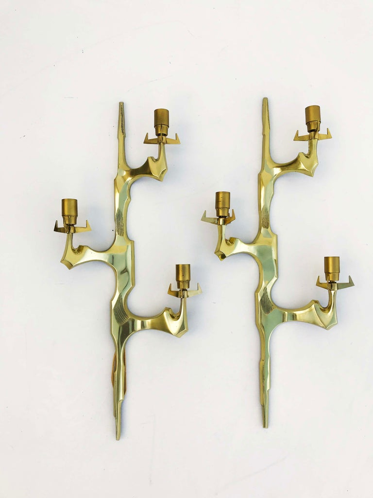Felix Agostini for Maison Arlus Pair of Sconces In Excellent Condition For Sale In Miami, FL
