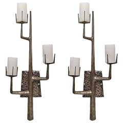 Felix Agostini Style Organic Modernist Wall Sconces in Silver, Pair