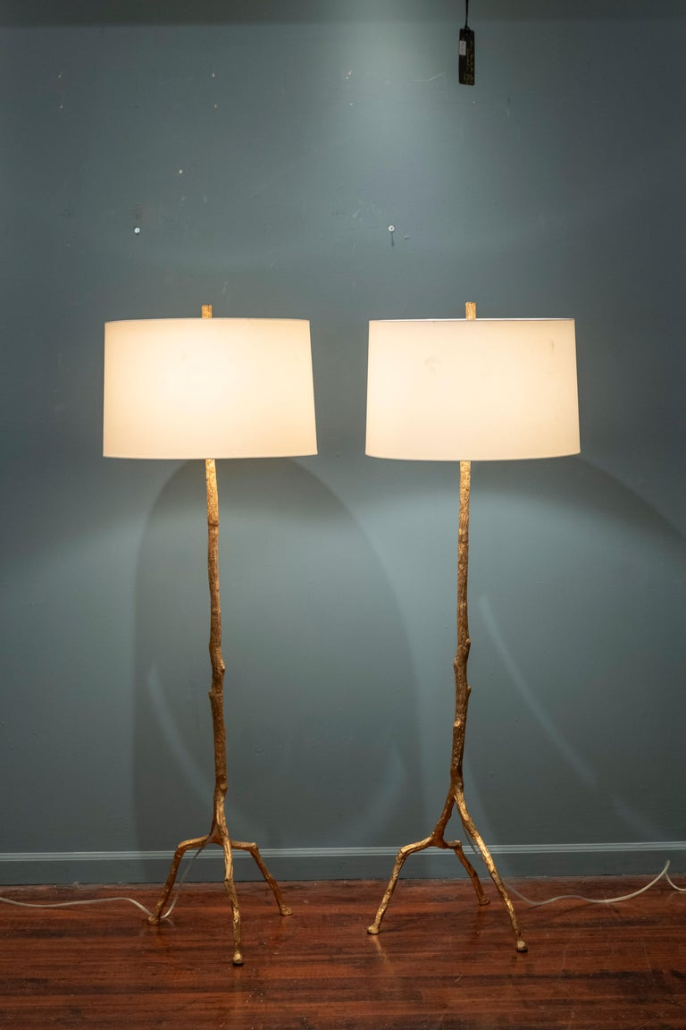 Gilt Felix Agostini Style Tree Branch Form Floor Lamps For Sale