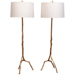 Felix Agostini Style Tree Branch Form Floor Lamps