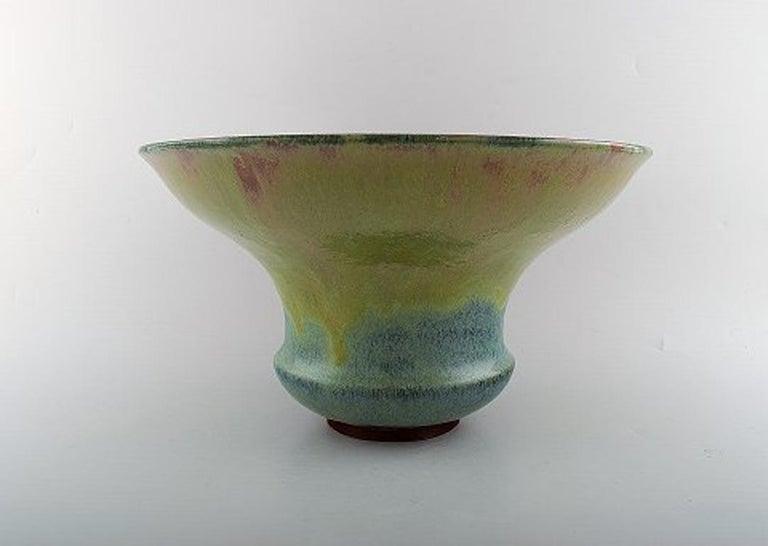 Felix-Auguste Delaherche. French ceramist (b. 1857, d. 1940). Large art deco ceramic vase. Beautiful glaze and rare shape. Ca. 1920. Model number 7047. Felix-Auguste Delaherche graduated from École Nationale supérieure des arts décoratifs in