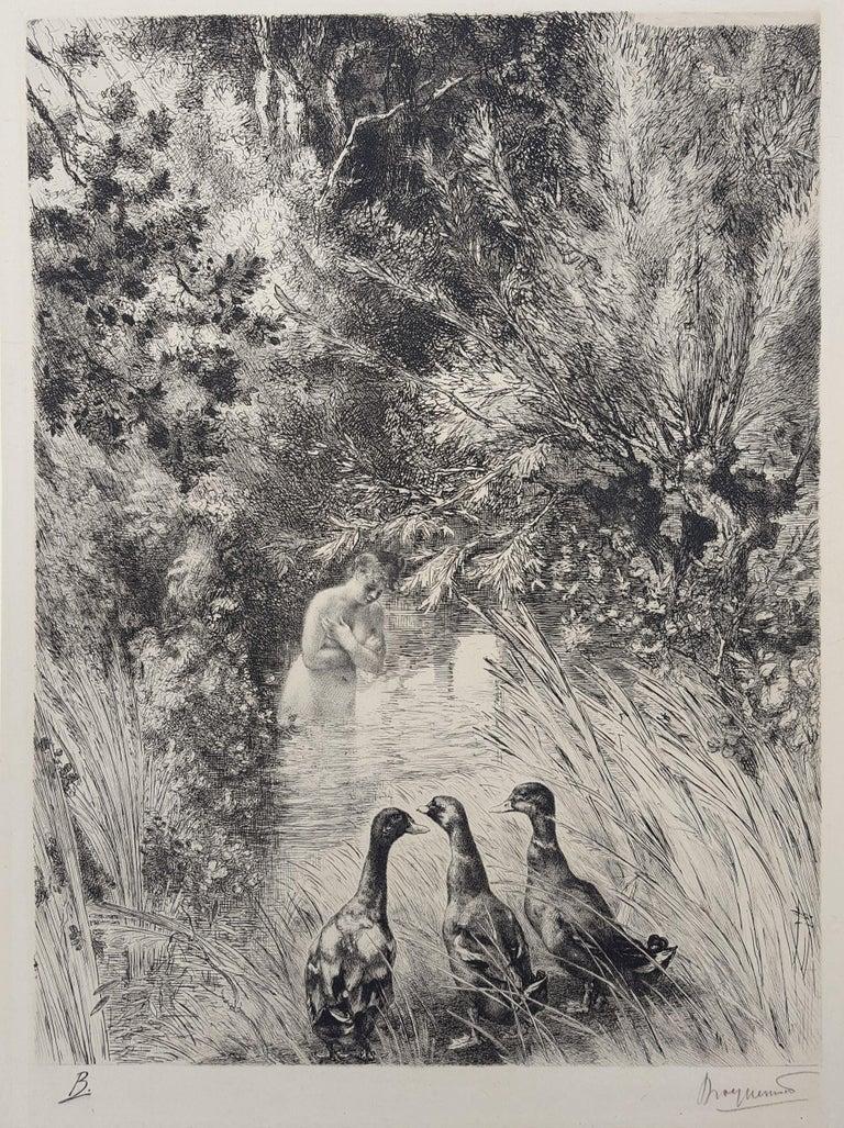 Canards Surpris (Surprised Ducks) - Print by Félix Bracquemond