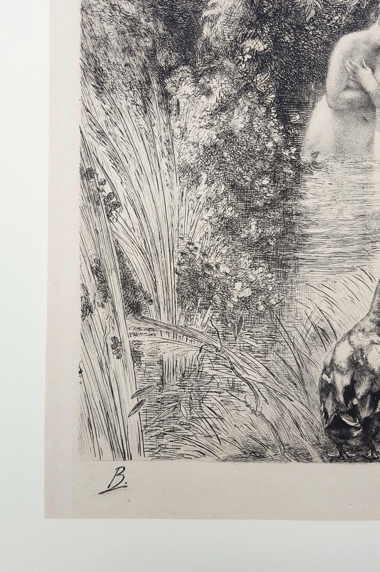An original signed drypoint etching on cream Japanese paper by French artist Félix Bracquemond (1833-1914) titled