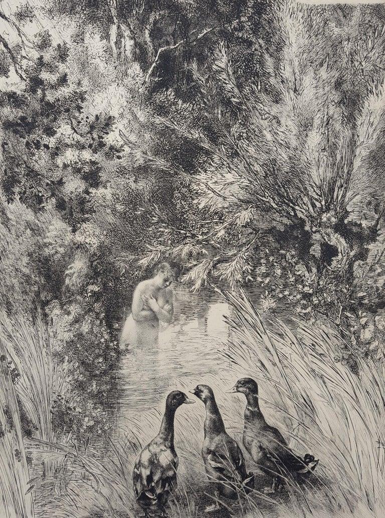 Félix Bracquemond Nude Print - Canards Surpris (Surprised Ducks)