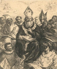 Saint Basile - Original black and white Etching After F. Herrera the Old