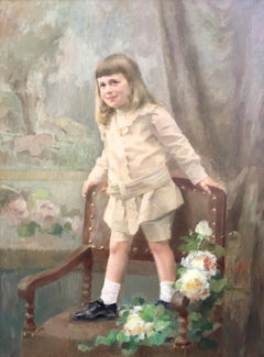 Portrait of Young Boy, Oil on Canvas Signed Felix Bryk, circa 1910