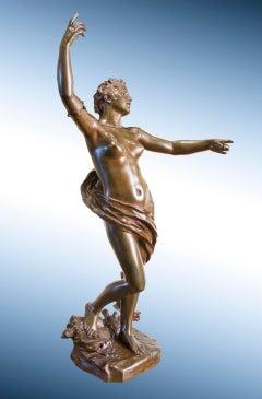 "19th Century sculpture of Female Nude in Bronze, titled ""La Chanson"""
