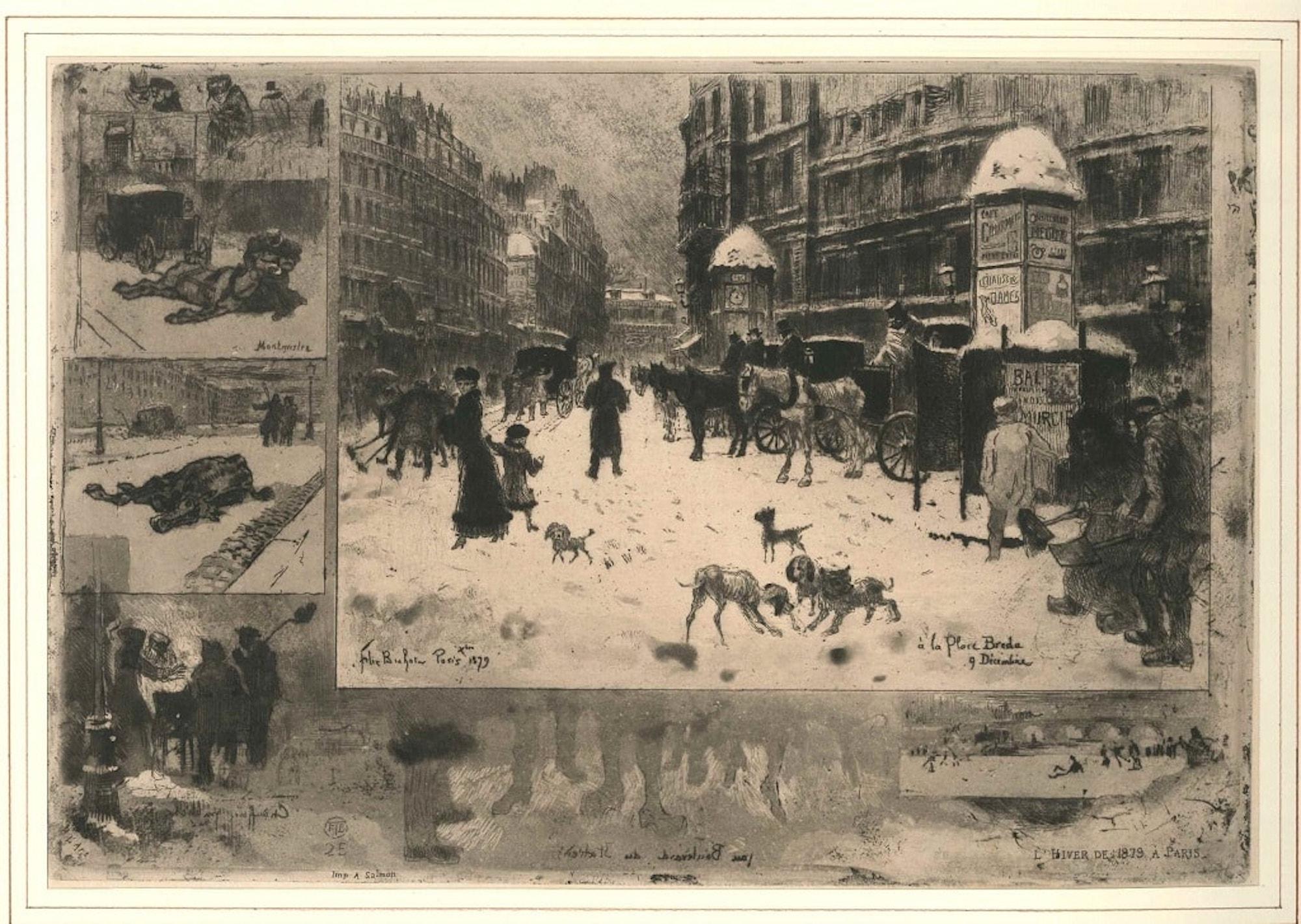La neige à Paris (Snow in Paris) - Original Etching by F. H. Buhot - 1879