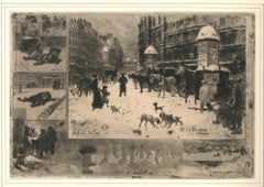 La neige à Paris (Snow in Paris) - Original Etching by F. H. Buhot - 1879