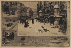 """L'Hiver a Paris,"" Original Etching & Aquatint Cityscape by Felix Hilaire Buhot"