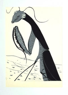 Mantis Religiosa - Original Screen Print by Félix Labisse - 1970s