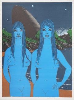The Blue Twins - Original handsigned lithograph