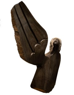 'Angel' original black stone Shona sculpture signed by Felix Mlungisi