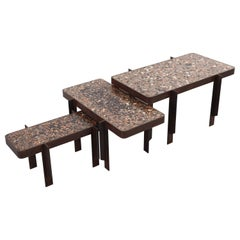 Felix Muhrhofer Contemporary Terrazzo Table with Corroded Steel Construction
