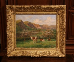 Early 20th Century Cow Painting in Gilt Wood Frame Signed Felix Planquette