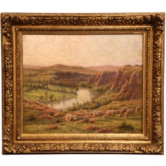 Early 20th Century Sheep Painting in Gilt Wood Frame Signed Felix Planquette