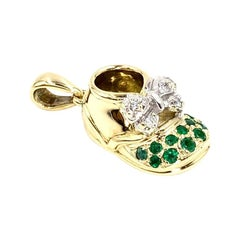 Felix Vollman 18 Karat Gold Baby Shoe Charm with Emeralds and Diamonds