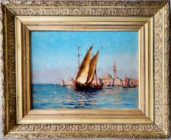 19th century French impressionist painting - View of Venice - Cityscape Boat