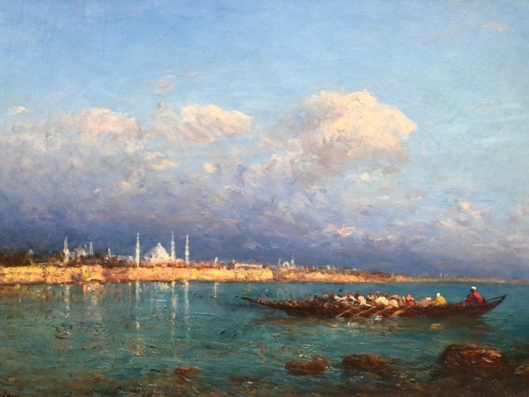 19th Century Impressionist Oil Painting 'View of Constantinople' Felix Ziem For Sale 2