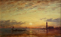Coucher de Soleil - Venice - Impressionist Oil, Canal at Sunset by Felix Ziem