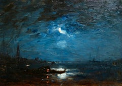 Crepescule - Venice - Impressionist Oil, Canal at Night Landscape by Felix Ziem