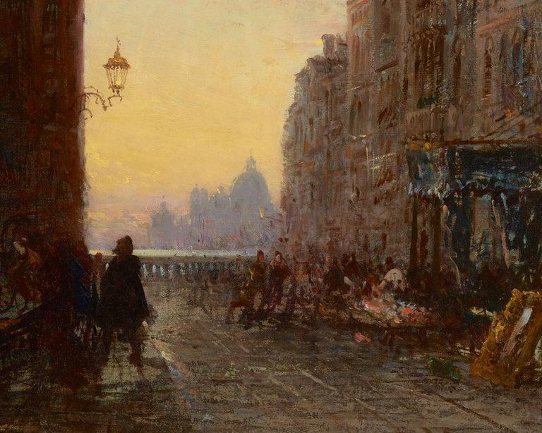 Market Place, Venise - Realist Painting by Felix Ziem