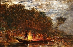 Party Night - Impressionist Oil, Figures on a Boat River Landscape by Felix Ziem