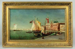 Regata in the Venetian Lagoon Oil on Panel Signed Ziem