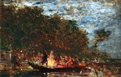 Soir de fête - 19th Century Oil, Figures on a Boat River Landscape by Felix Ziem