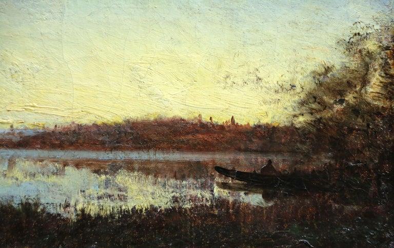 Sunset - 19th Century Barbizon Oil, Boat on Riverscape Landscape by Felix Ziem For Sale 1