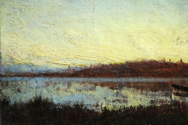 Sunset - 19th Century Barbizon Oil, Boat on Riverscape Landscape by Felix Ziem For Sale 2