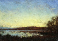 Sunset - 19th Century Barbizon Oil, Boat on Riverscape Landscape by Felix Ziem